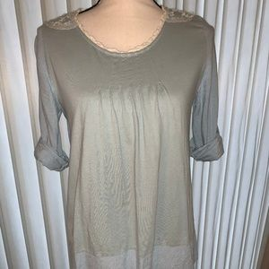 Anthropologie Denim and Lace Blue Top Size S